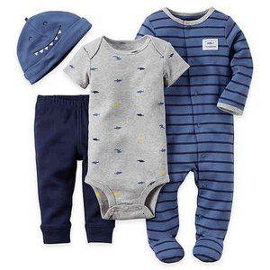 Carter's 4 Piece Baby Boy Shark Sleeper Set Blue